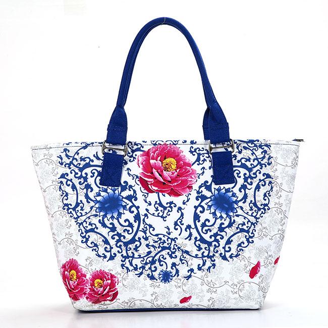 玫瑰有约青花系列 帆布女包新款女士大包包袋