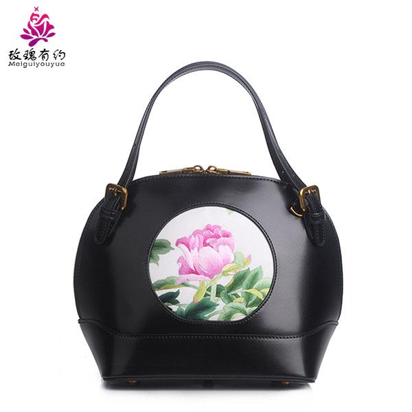 玫瑰有约SH021牛皮苏绣手工绣花女士手拎斜挎包