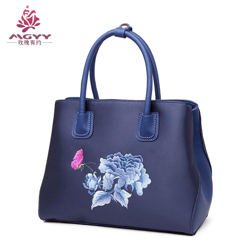 玫瑰有约真丝绣花女包XH221女士手提包